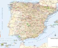 Španělsko,mapa Španělska,Spain,map of Spain,Espana,mapa de Espana
