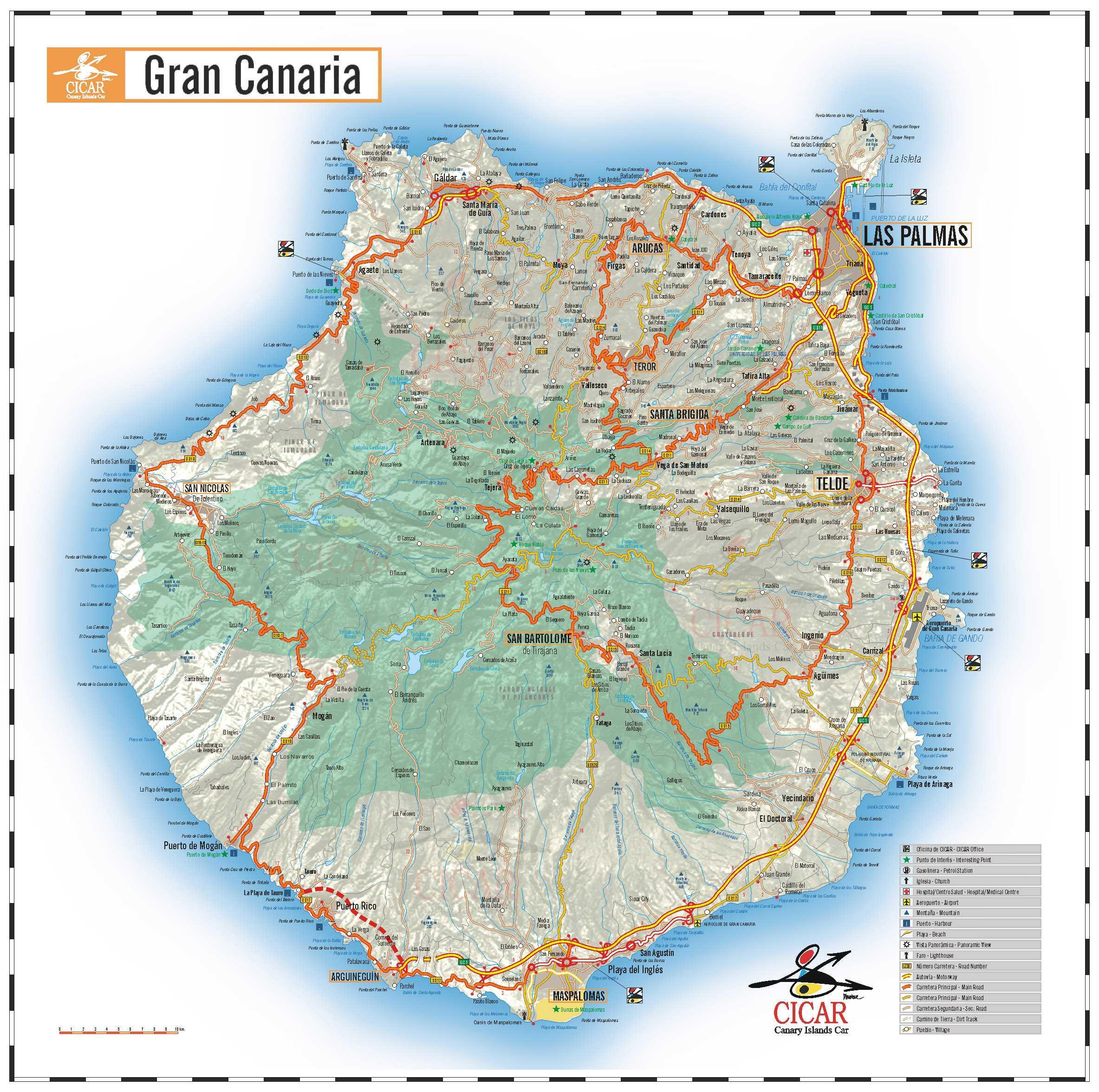 Kanarske Ostrovy Mapa Tenerife Gran Canaria Mapa Fuerteventura