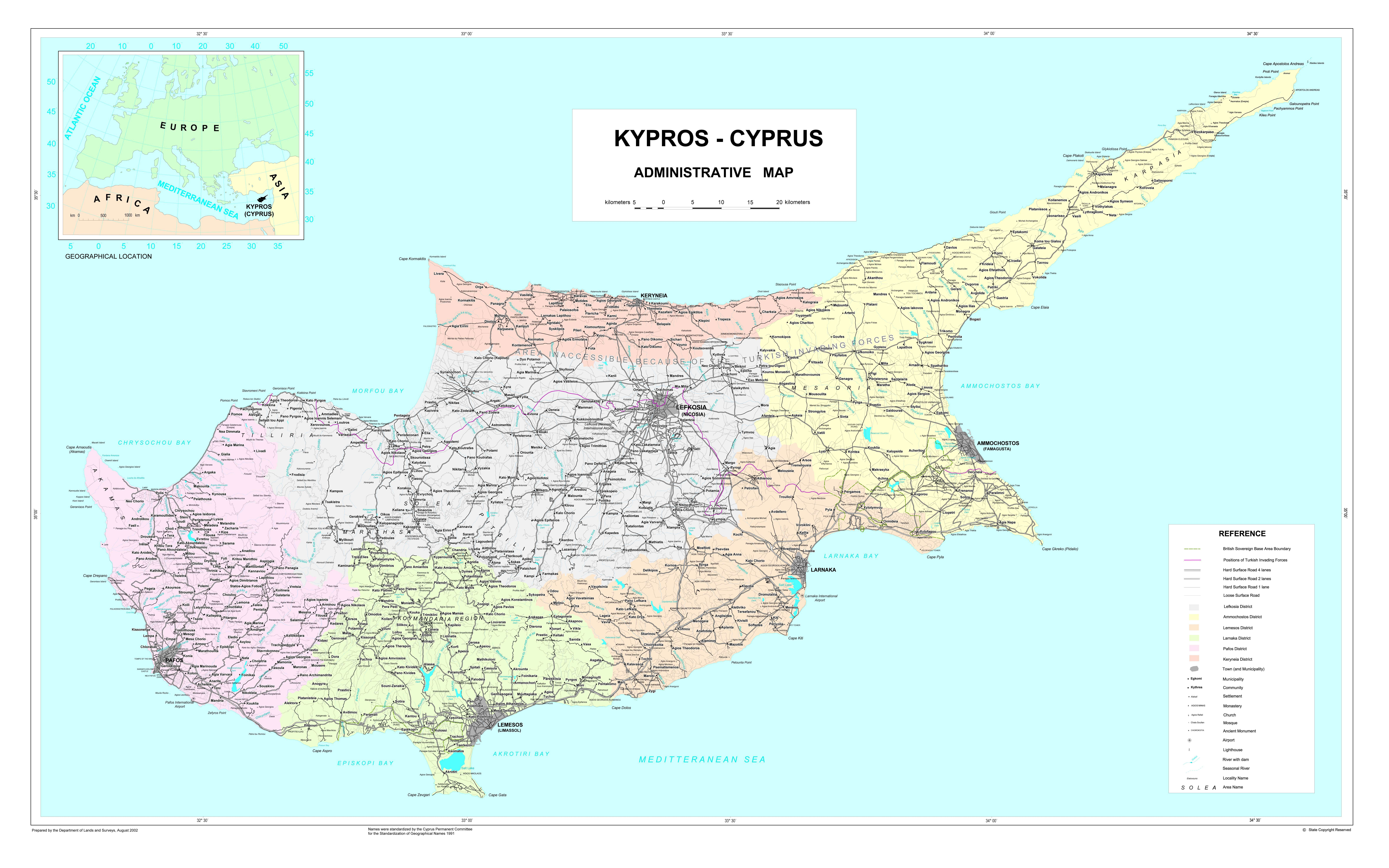 Kypr Mapa Kypru Ayia Napa Larnaka Paphos Nikosie Limassol