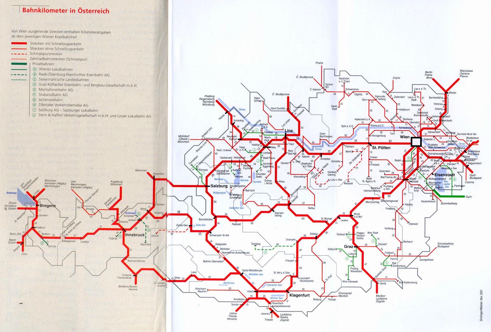 Mapa Zeleznicni Mapa Rakouska