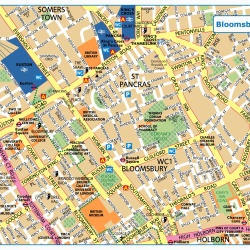 London Bloomsbury,Londýn,mapa Londýna Bloomsbury,map of London