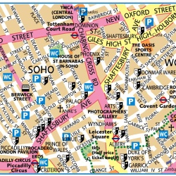 London Soho,Londýn,mapa Londýna Soho,map of London