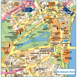 London St James Park,Londýn,mapa Londýna St James park,map of London